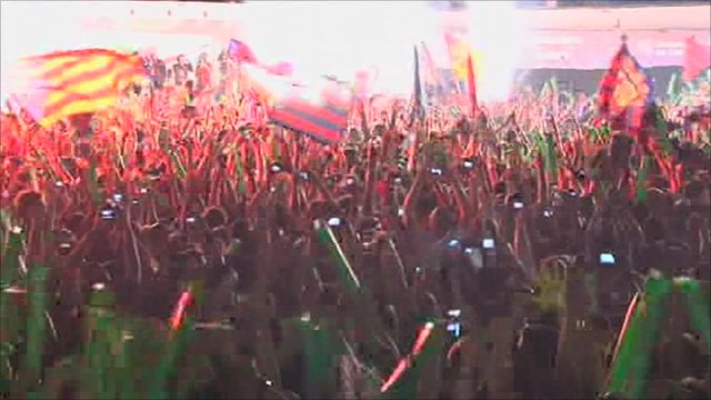 Barcelona fans cheering