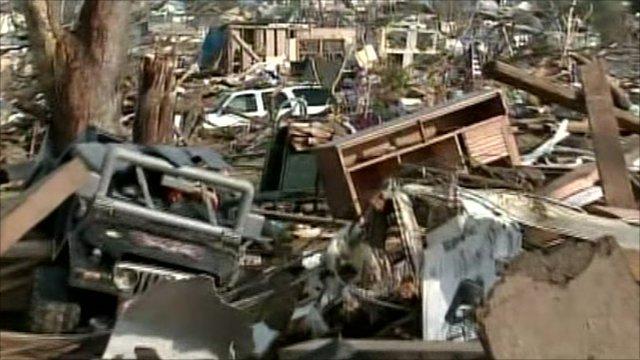Wreckage after tornado in Joplin, Missouri