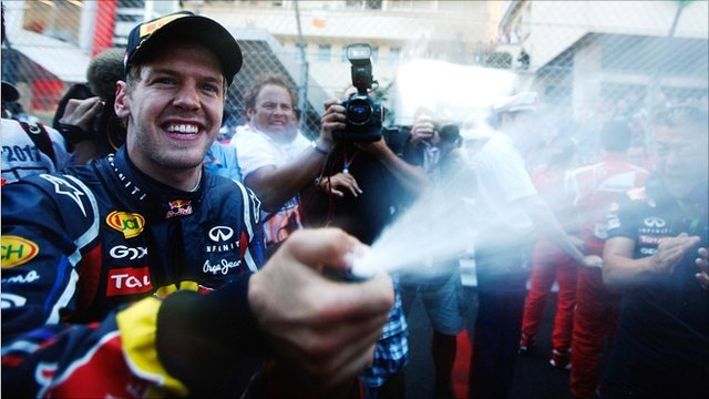 Sebastian Vettel celebrates his victory in Monaco