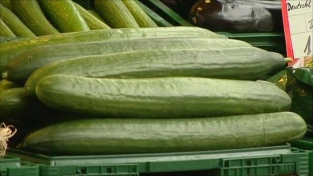 Cucumbers on market stall