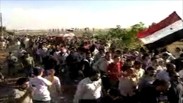 Pictures said to be of protester's funeral in al-Akran