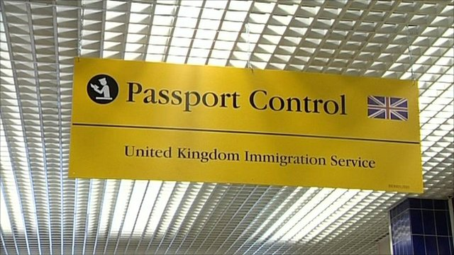 UK passport control sign
