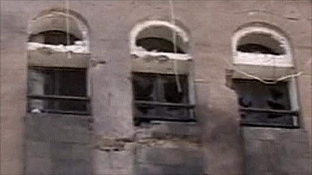 Damaged windows at presidential compound