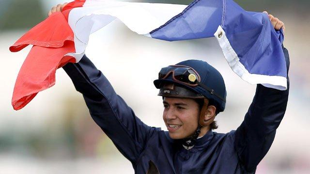 Mikael Barzalona celebrates winning The Derby
