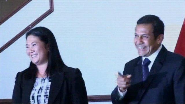 Keiko Fujimori (left) and Ollanta Humala