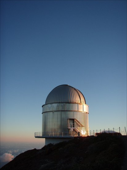 The Flemmish Mercator 1.2m telescope based at the Observatorio del Roquede los Muchachos on the island of La Palma, Canary Isles,