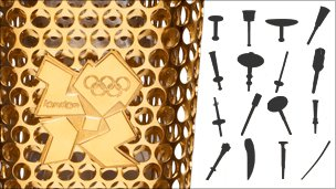Graphic of Olympic torches through the ages