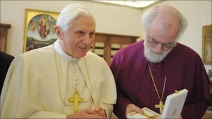 Dr Williams with Pope Benedict XVI at the Vatican in 2009