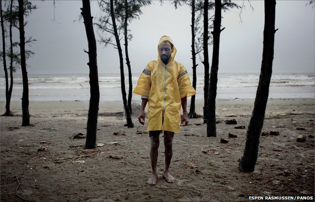 A Rohingya fisherman living on the beach