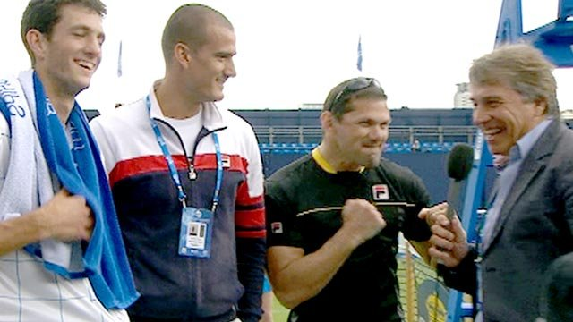 James Ward (left) and his coaching team chat to BBC Sport presenter John Inverdale