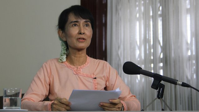 Aung San Suu Kyi recording the BBC Reith Lectures in Burma