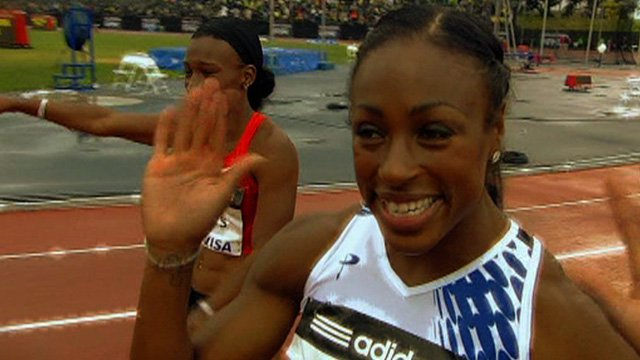 Danielle Carruthers celebrates at the Diamond League meeting in New York