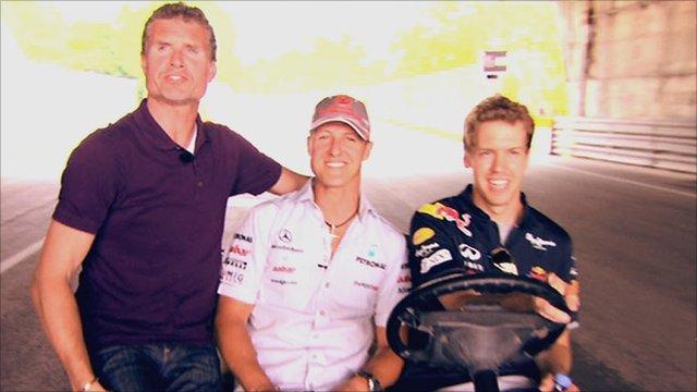 David Coulthard (left) with Michael Schumacher and Sebastian Vettel
