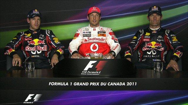 Sebastian Vettel (l), Jenson Button (c) and Mark Webber (r)