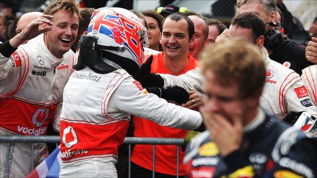 Jenson Button celebrates victory