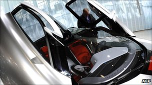 The doors open upwards from a new Saab concept car