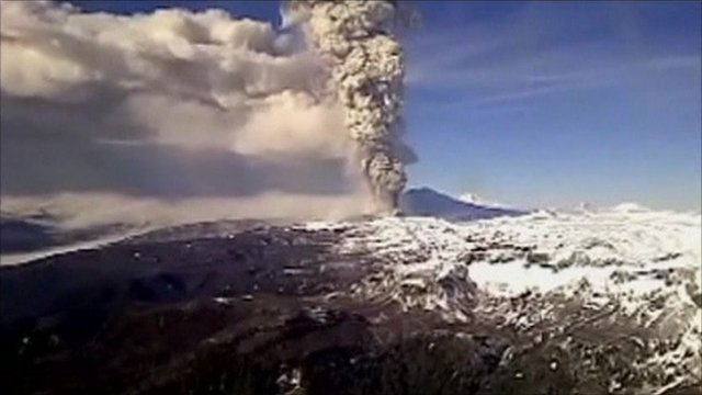 Chile's Puyehue volcano erupting