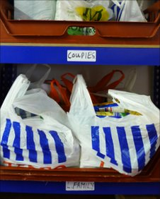 Shelf with bags