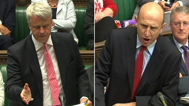 Health Secretary Andrew Lansley and shadow health secretary John Healey