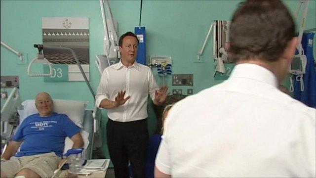 David Cameron in hospital ward