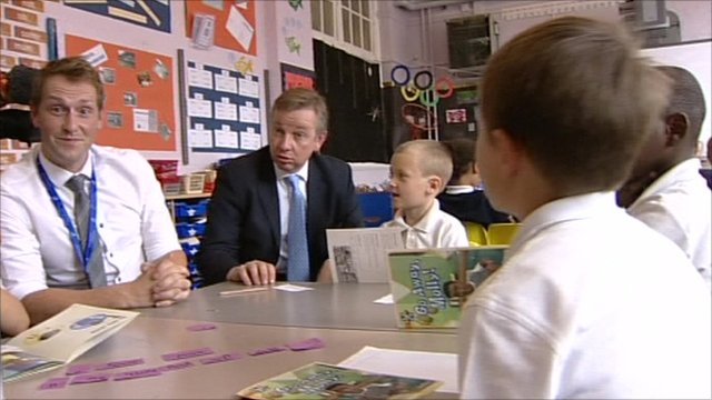 Michael Gove at a primary school