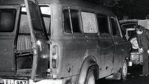 the bullet riddled minibus near Kingsmills in South Armagh in which 10 Protestant workmen were massacred