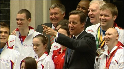 Special Olympians from Team GB surround prime minsister David Cameron