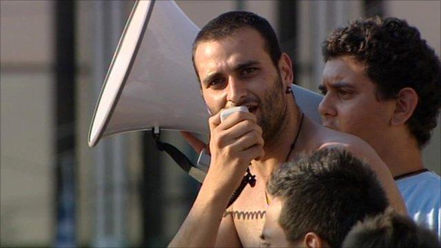 Demonstrators in Athens