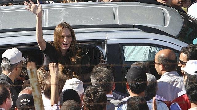 Angelina Jolie arrives at a camp on the Syria/Turkey border