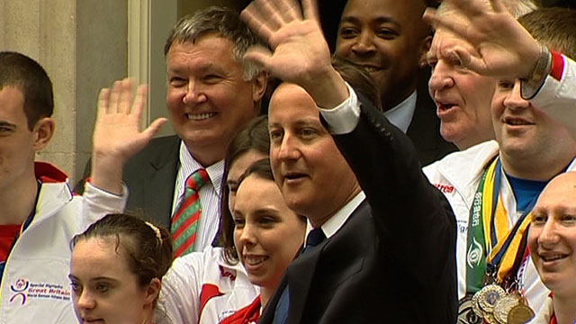 Prime Minister David Cameron & Beth Tweddle with members of the GB Special Olympics squad