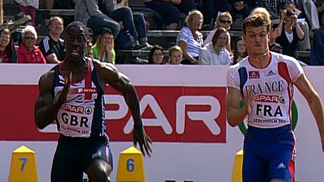Dwain Chambers finishes second in the European Team Championships 100m behind Frenchman Christophe Lemaitre