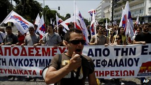 Protester in Athens on 18 June