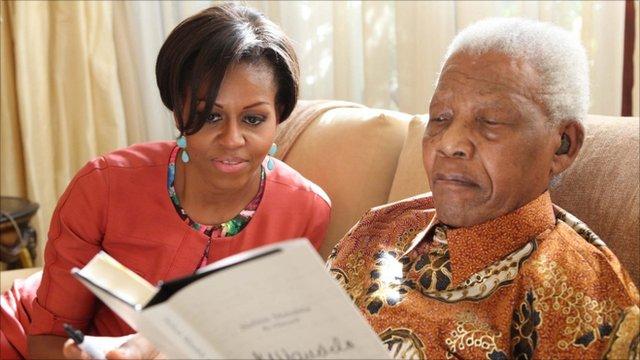 Michelle Obama with Nelson Mandela