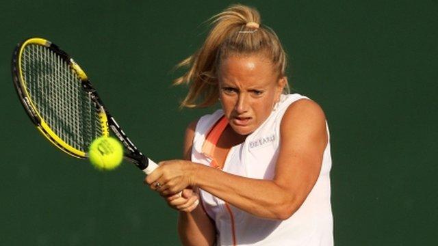 Britain's Emily Webley-Smith in Wimbledon action