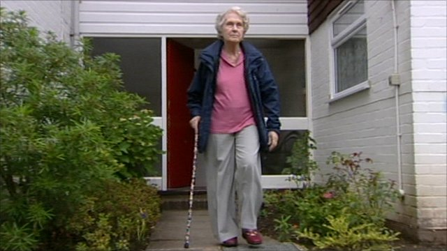 Sheila Bex, who has to walk with a stick after her hip fracture was missed
