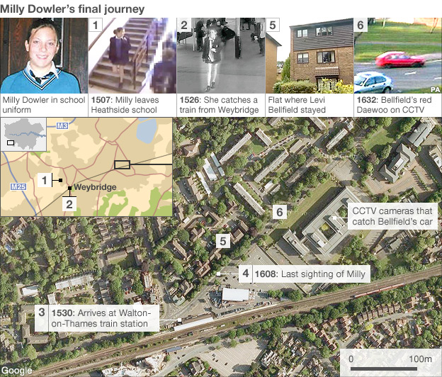 Map of Milly Dowler's final journey