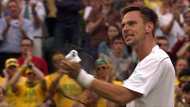 Robin Soderling celebrates his win over Lleyton Hewitt