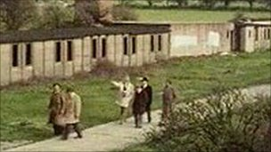 Former prisoners of war visiting the camp in 1976