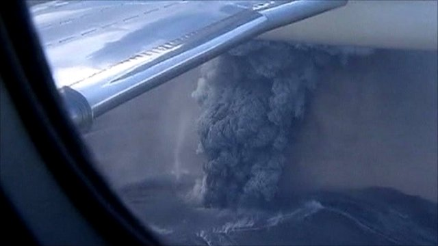 View from plane of ash spewing from the Puyehue-Cordon Caulle volcano