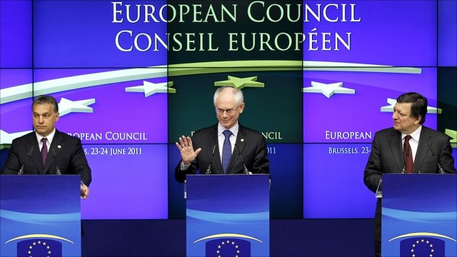 Hungary's Prime Minister Viktor Orban (L), EU Council President Herman Van Rompuy (C) and European Commission President Jose Manuel Barroso