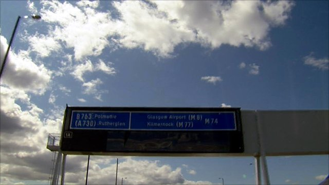 Road sign on the new M74 extension