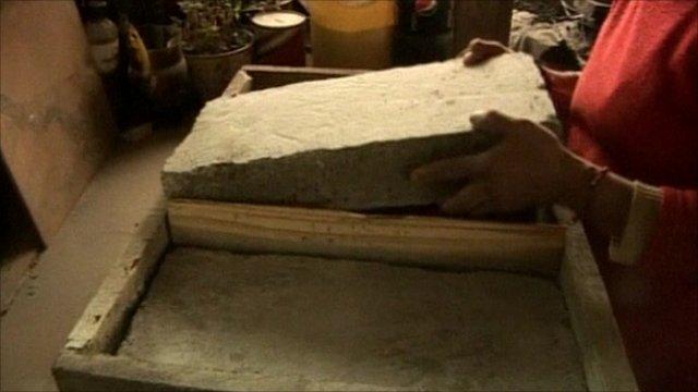 Bricks of volcanic ash