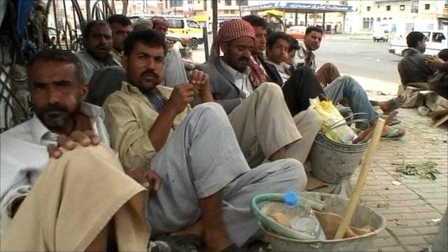 Men on the streets of Sanaa