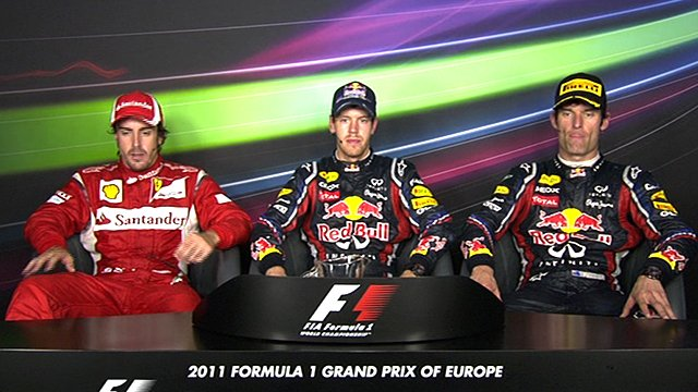 Fernando Alonso, Sebastian Vettel and Mark Webber