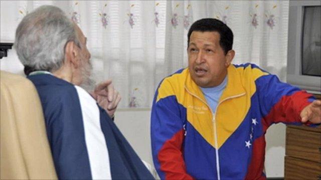 Photo of Fidel Castro apparently visiting Hugo Chavez in Havana hospital
