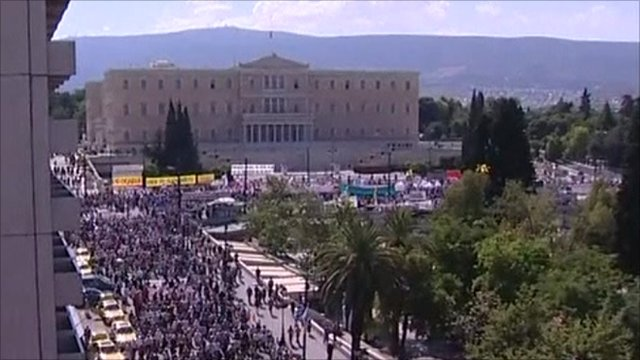 Protesters in Athens