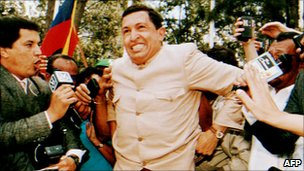 Hugo Chavez greeted by crowds