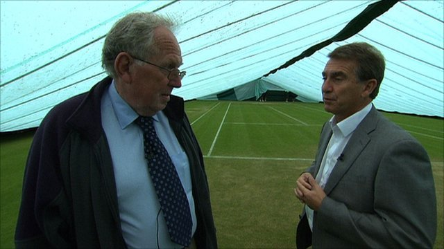 Wimbledon head groundsman Eddie Seaward with BBC Sport's Garry Richardson