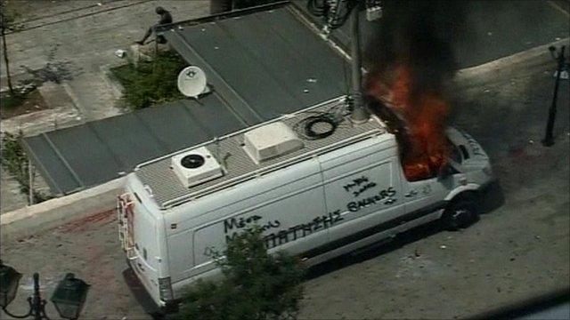 TV truck ablaze