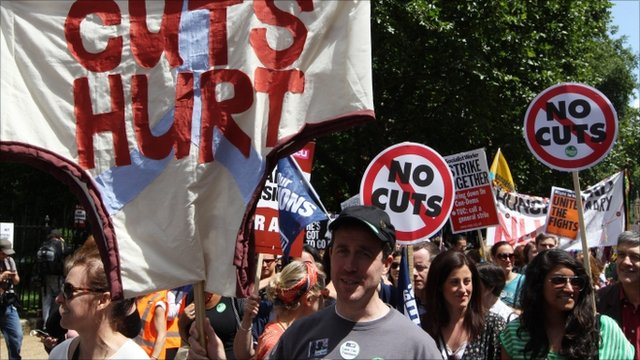 Public sector workers march through central London